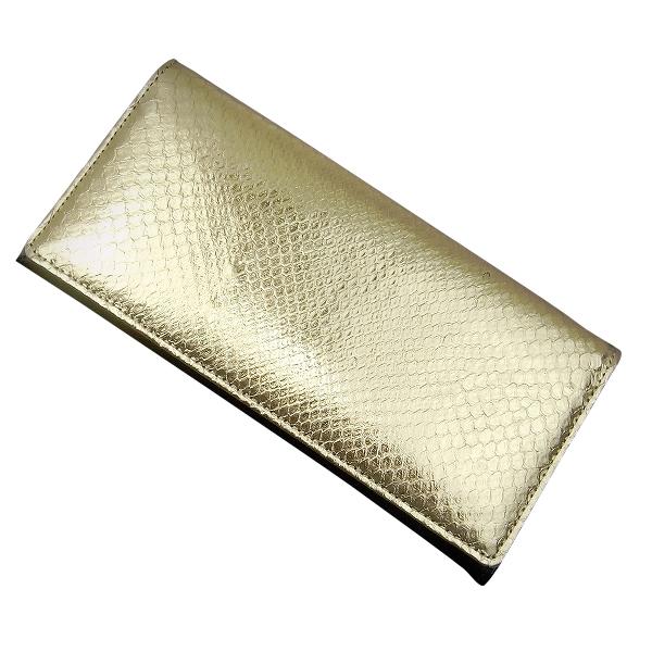 錦蛇パイソン長財布フラッシュゴールド